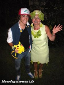 Fancy dress costume of Ash Ketchum from Pokemon and green salad