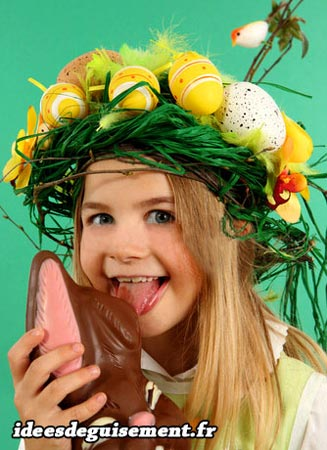 Costume of Easter Crown Eggs and Chocolate Rabbit