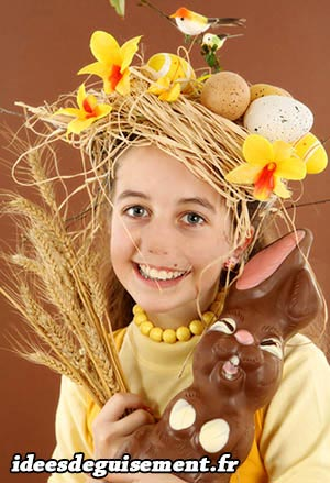 Costume of Easter Crown Eggs with Flower, and Chocolate Rabbit