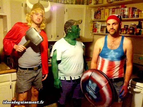 Homemade fancy dress costumes of the Avengers