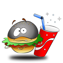Costume idea of burger and drink alive