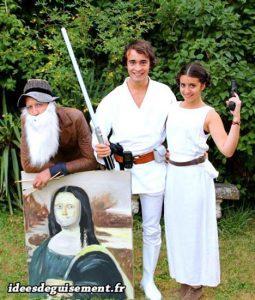 Fancy dress costume of Leonardo Da Vinci and Luke & Leia Skywalker
