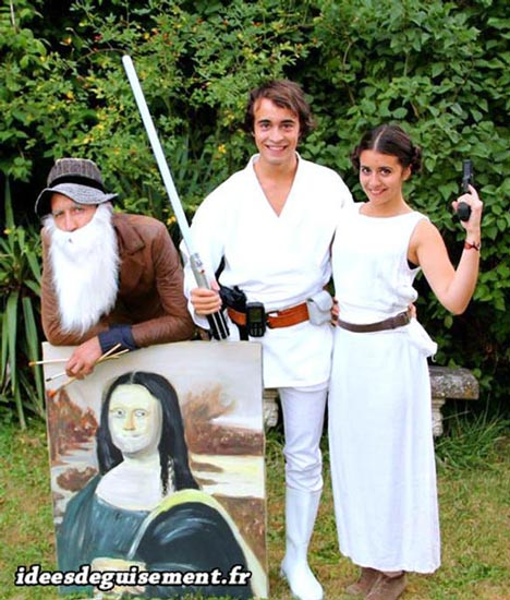Fancy dress costume of Leonardo Da Vinci and Luke & Leia Skywalker