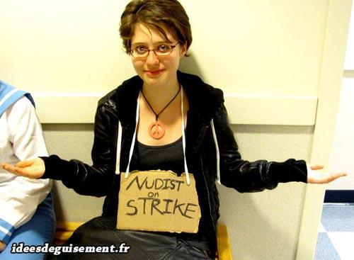 Costume of Nudist on Strike - Letter N