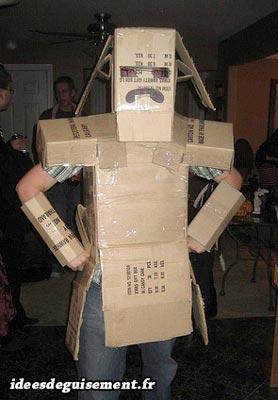Last minute costume of robot cartoon box