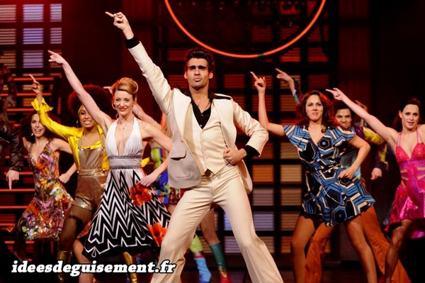 Fancy dress costume of people dancing disco