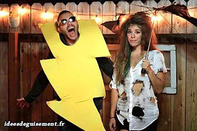 Flash lighting fancy dress for couple