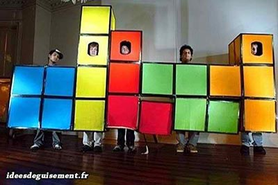 Funny fancy dress of Tetris blocks