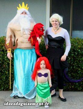 Costume of king Triton,Ariel,Ursula and Sebastian
