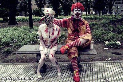 Fancy dress for Halloween of Zombie nurse and zombie McDonald
